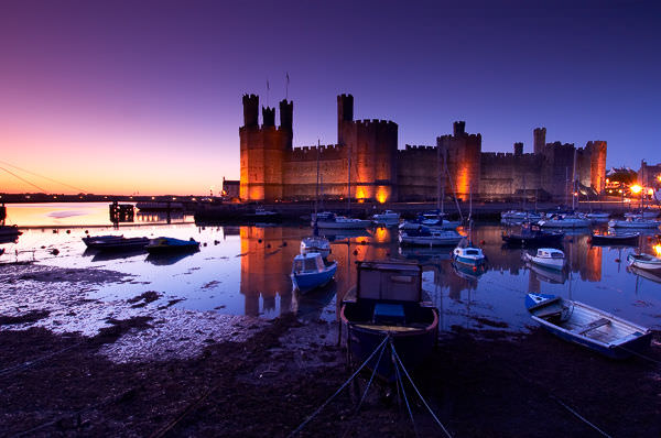 Caernarfon Castle at sunset