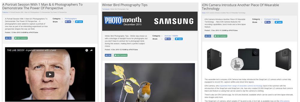 ePHOTOzine Website Features