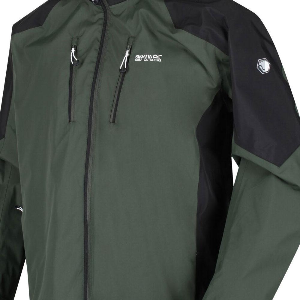Men's Calderdale IV Waterproof Shell Hooded Walking Jacket Deep Forest Black