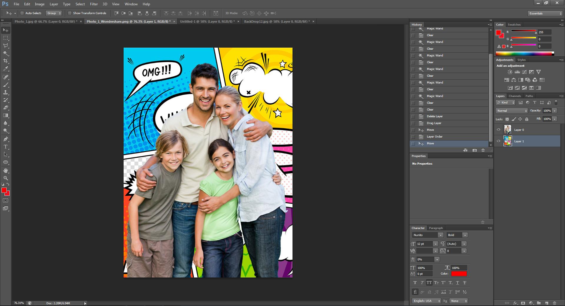 adjust details of photo