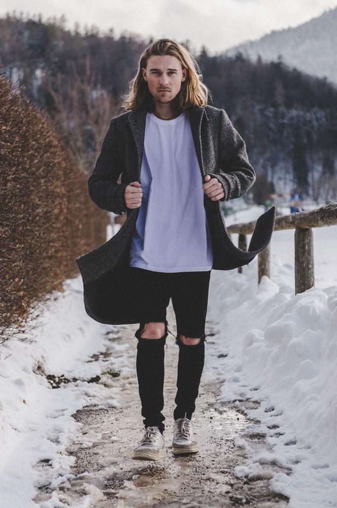 Male model walking towards the camera