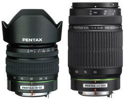Pentax 55-300 and 18-55mm zoom lenses
