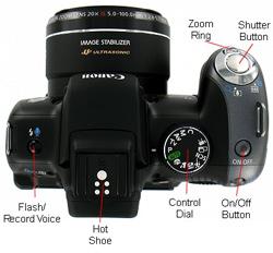 Canon Powershot SX10 Top