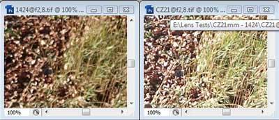 Nikon 14-24mm f/2.8 & Carl Zeiss 21mm f/2.8 centre resolution