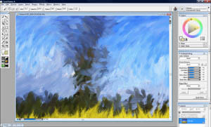 Close up showing brush strokes