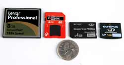 Memory card group test sizes