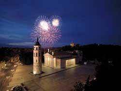 Fireworks over a church