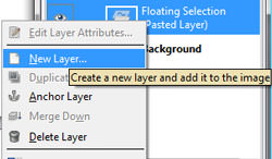 Creating a new layer in GIMP