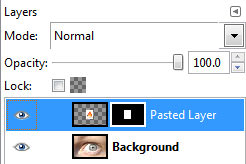 Pasted selection in GIMP