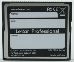 Lexar Professional UDMA 4Gb compactflash 300x rear view