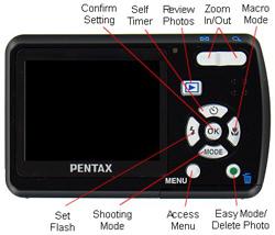 Pentax Optio E50 Back