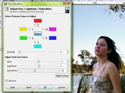 Gimp colour adjustment