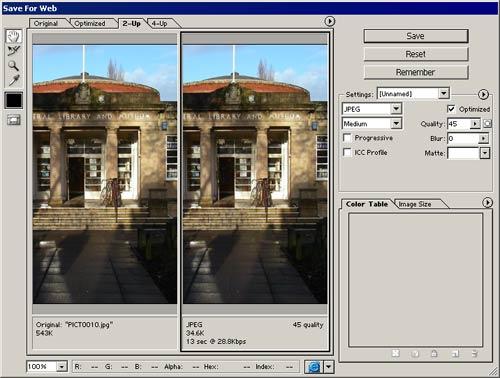 Image resize for web technique