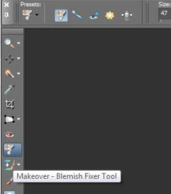 Makeover blemish fixer tool in Paint Shop Pro
