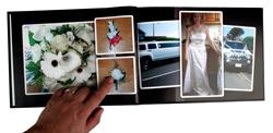 Inside of a MyCreation hard cover photobook