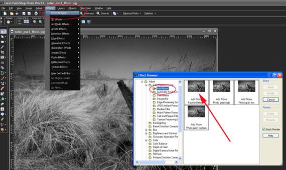 Paint Shop Pro X3 Effect Browser