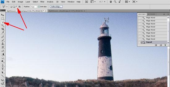 Lighthouse montage - select sky