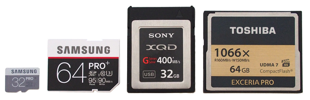 Memory cards side by side