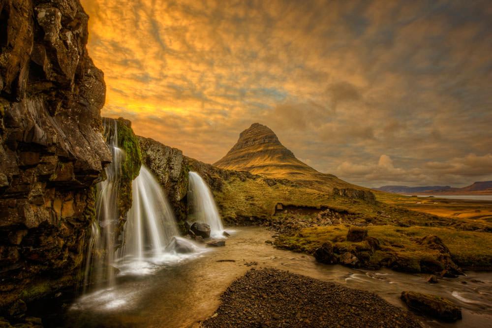 Kirkjufellsfoss Waterfalls near Kirkjufell mountain at Grundarfjordur, Ken Kaminesky