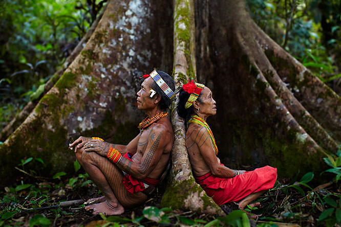 Mentawi shaman and wife