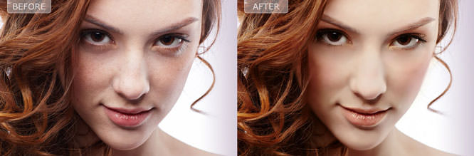 Before and after shots when edited with Perfect365