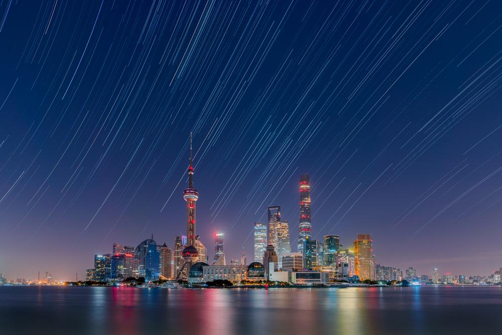 Star Trails Over The Lujiazui City Skyline - Daning Kai