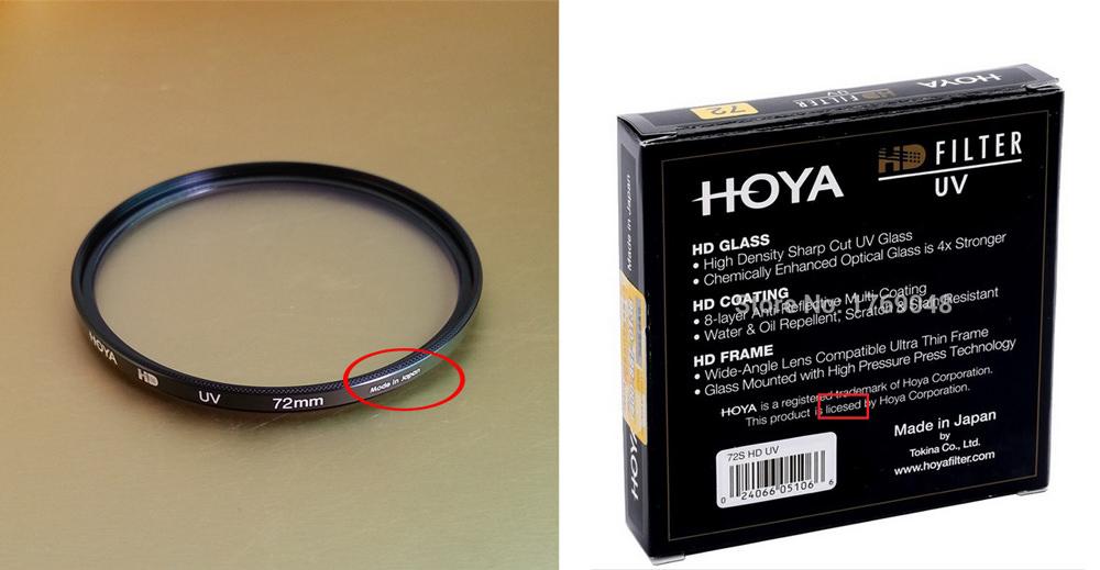 Counterfeit Hoya filters