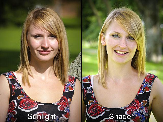 Same shot taken in the sun and shade