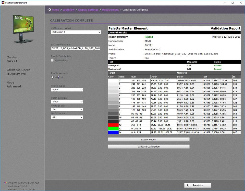 Benq Calibration Results