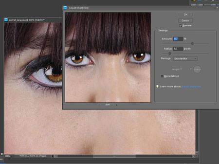 Sharpness adjust in Photoshop Elements