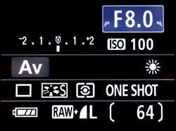Canon EOS 1000D screen