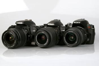 Canon EOS 1000D, Nikon D3000 & Sony Alpha A230 lined up