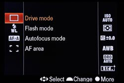Sony Alpha A500 screen