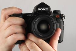 Sony Alpha A850 held out