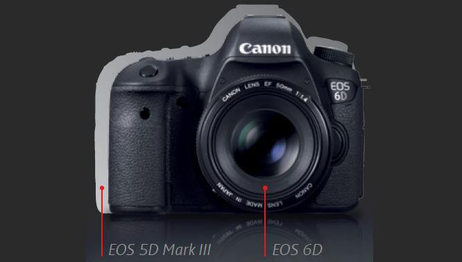 Canon EOS 5D Mark III overlaid with Canon EOS 6D