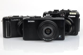 Canon Powershot G11, Sigma DP2 & Panasonic Lumix DMC-LX3 grouped