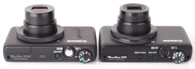 Canon Powershot S100 and Canon Powershot S95 Top