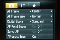 Canon Powershot S90 main menu