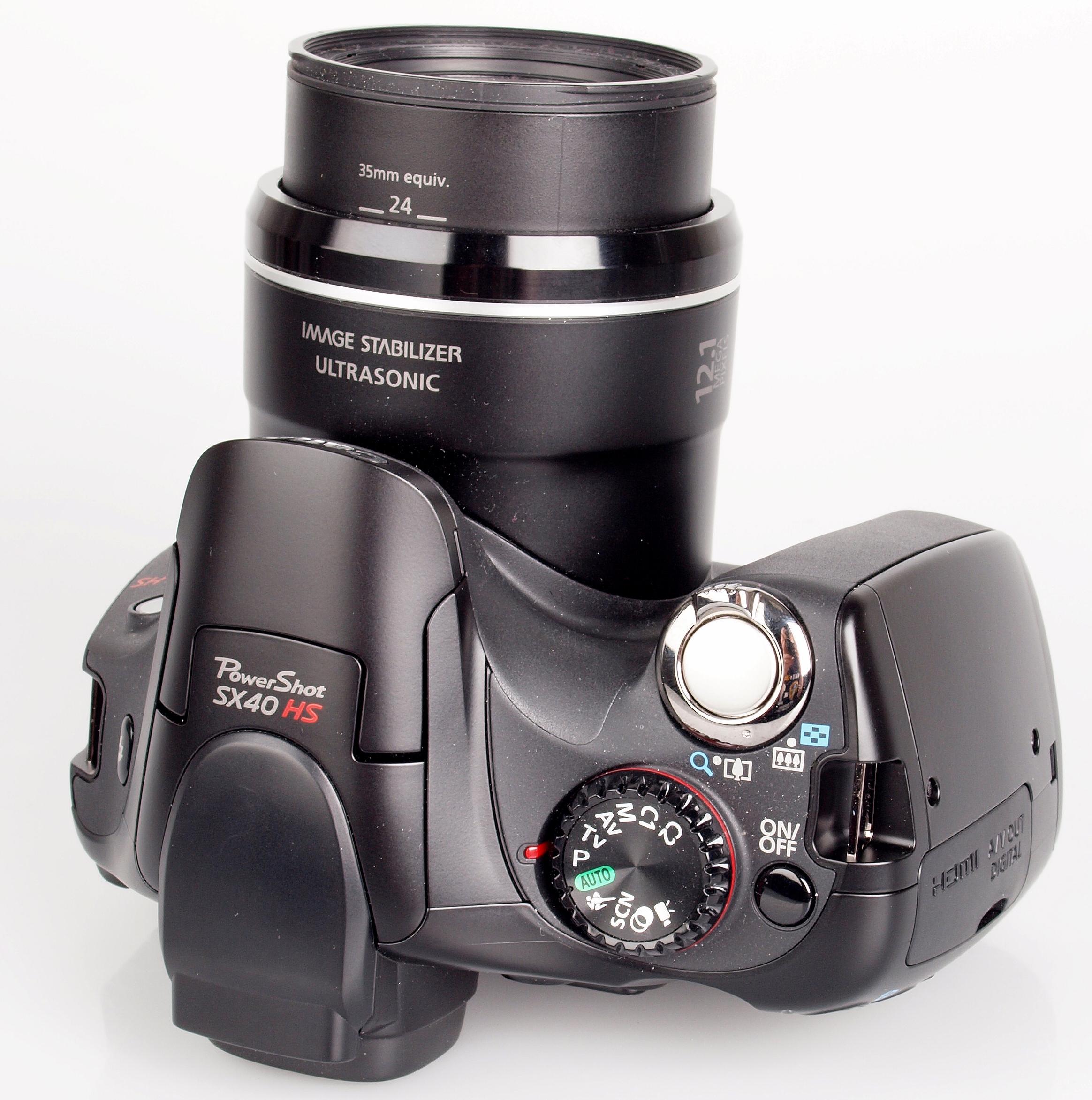 Canon PowerShot SX40 HS top.