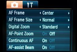 Canon Powershot SX120 IS screen
