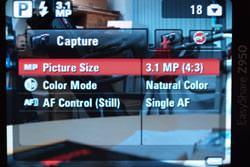 Kodak Easyshare Z950 screen