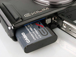 Casio Exilim EX-H15 battery compartment