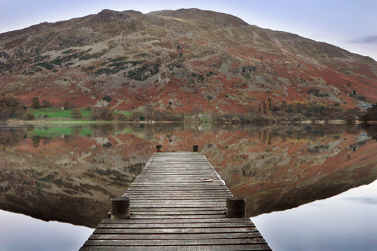 Reflections and jetty at Ullswater