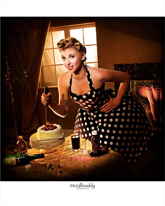 Girl stabbing cake