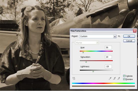 Photoshop Sepia - using Colorize