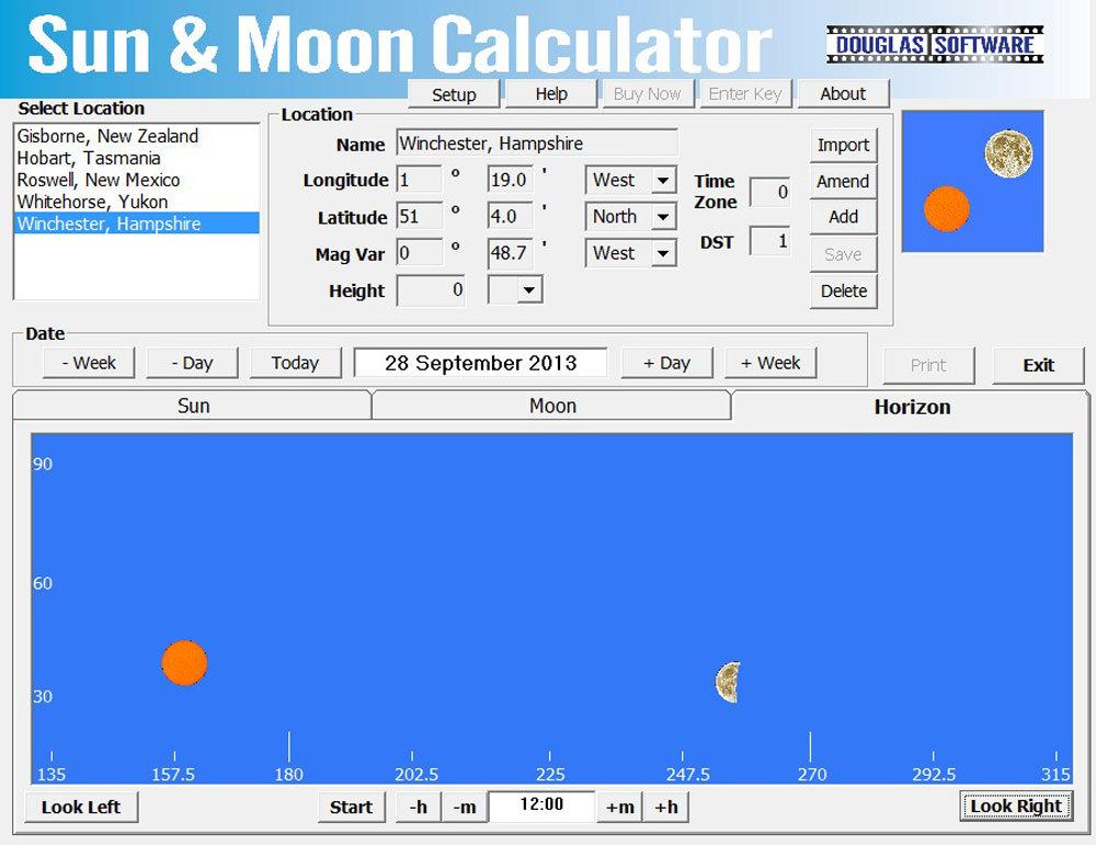 Douglas Software Sun and Moon angle calculator