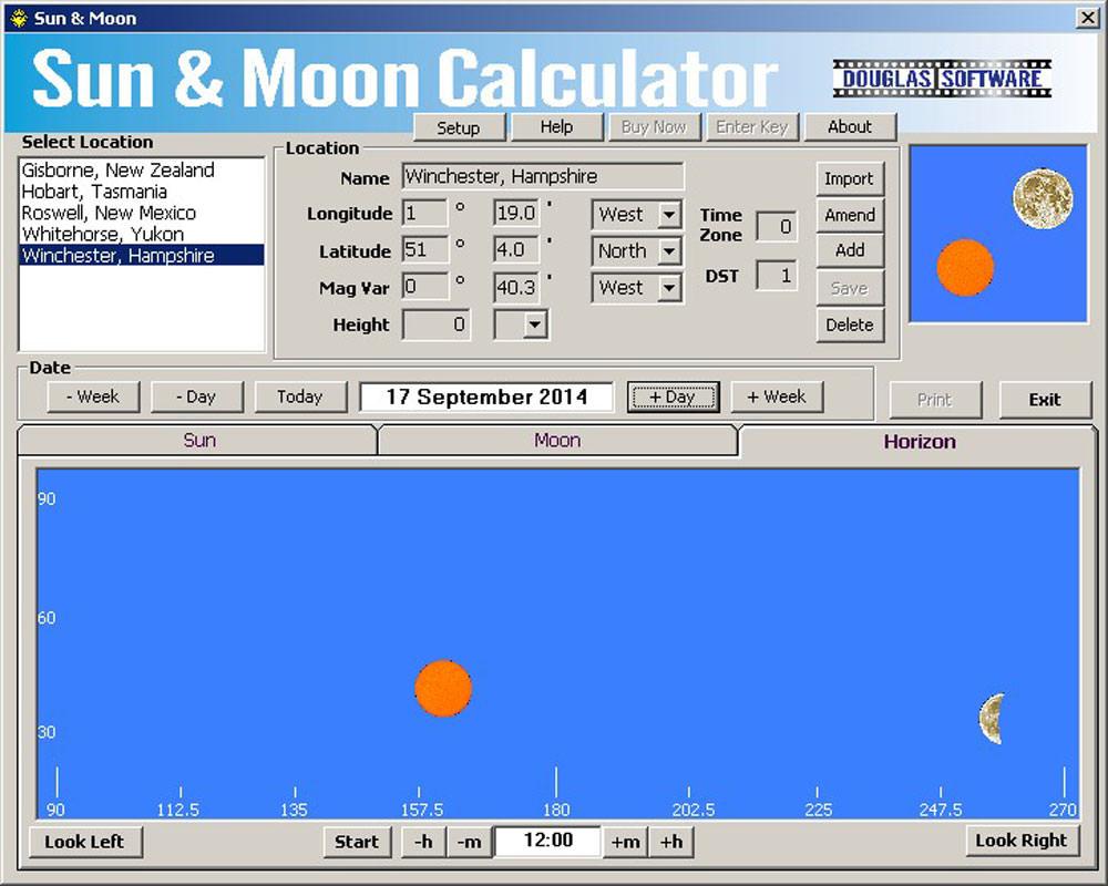 Sun and moon calculator