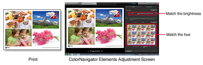 ColorNavigator Elements Adjustment Screen