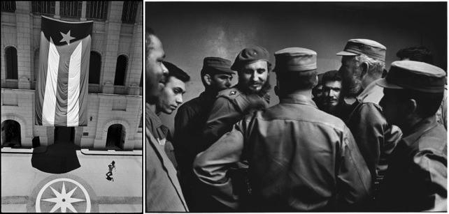 New image 'flag' alongside one of the original Elliott Erwitt  images of Cuba  from 1964.