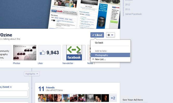 Add ePHOTOzine To A Facebook Interest List
